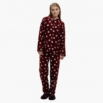 Printed Long Sleeves Shirt and Pyjama Set