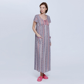 Printed Long Dress with Round Neck and Short Sleeves