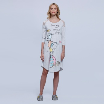 Printed Dress with Round Neck and 3/4 Sleeves
