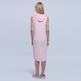 Printed Sleeveless Dress with Hood and Pocket Detail