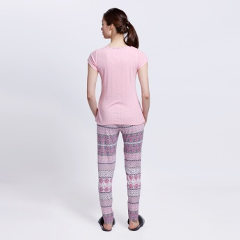 Printed Pyjama and T-Shirt Set
