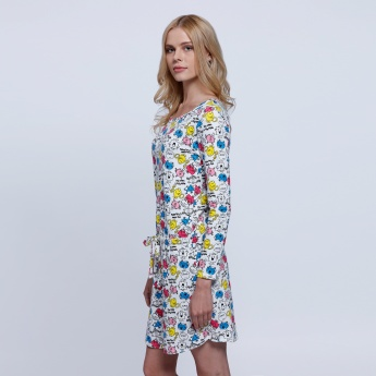 Printed Dress with Round Neck and Long Sleeves