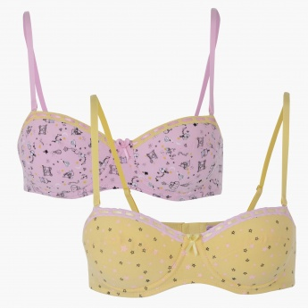 Printed Bra with Adjustable Straps - Set of 2