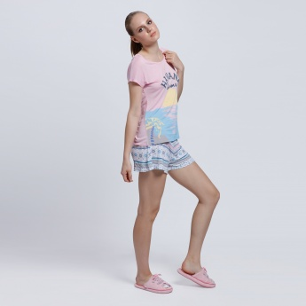 Printed Round Neck T-Shirt with Shorts Set