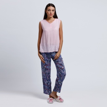Printed Sleeveless Top and Pyjama Set