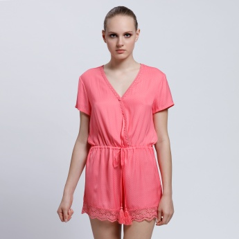 V-Neck Romper with Short Sleeves and Tie Up