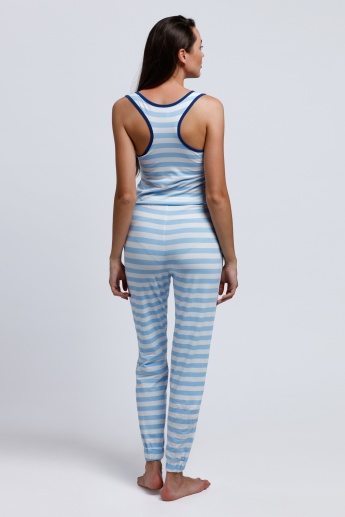 Striped Sleeveless Jumpsuit with Round Neck and Racerback