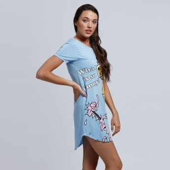 Garfield Printed Midi Dress with Round Neck and Short Sleeves