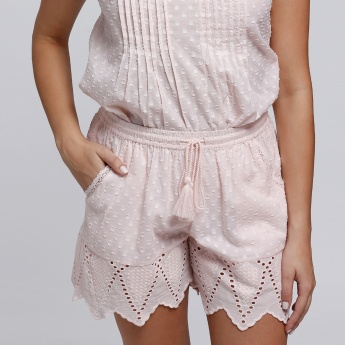 Textured V-Neck Top and Shorts Set