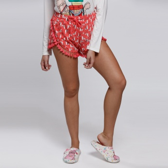 Printed Shorts with Elasticised Waistband and Tassels
