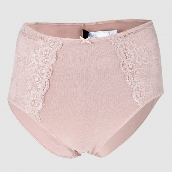 High Waist Briefs with Lace Detail