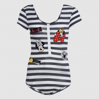 Striped Applique Teddy with Scoop Neck and Short Sleeves