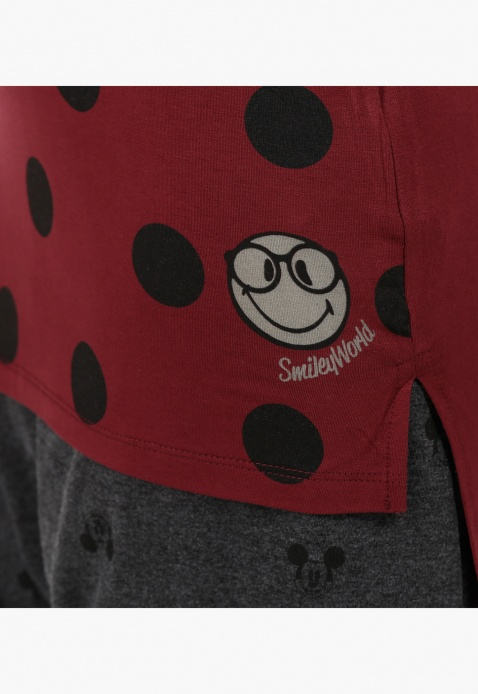 Smiley World Polka Dot Print T-Shirt with Short Sleeves
