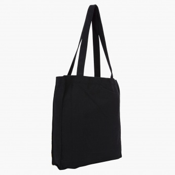 Smiley Print Canvas Tote Bag