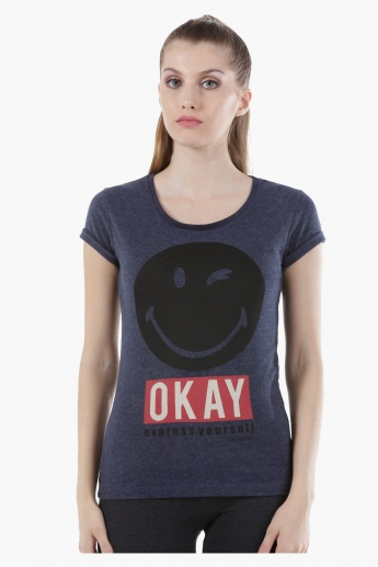Smiley World Cotton T-Shirt with Short Sleeves and Graphic Print in Regular Fit