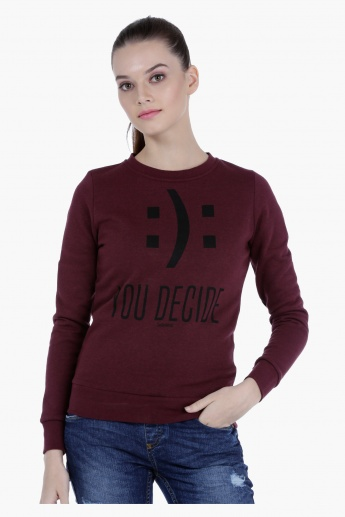 Smiley World Melange Sweatshirt with Graphic Print and Long Sleeves