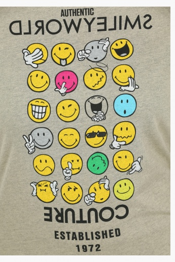 Smiley World Printed Round Sweatshirt