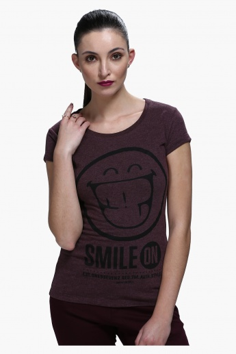 Smiley World Graphic Print Short Sleeves T-Shirt