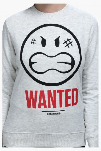 Smiley World Graphic Print Short Sleeves Sweatshirt