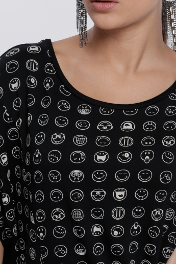 Smiley World Printed T-Shirt with High-Low Hem