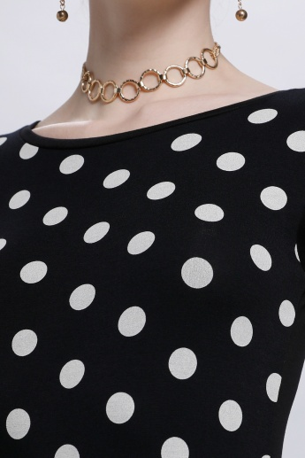 Smiley World Polka Dots Tunic Top with Round Neck and Short Sleeves