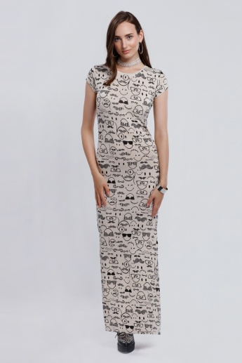 Smiley World Printed Round Neck Maxi Dress