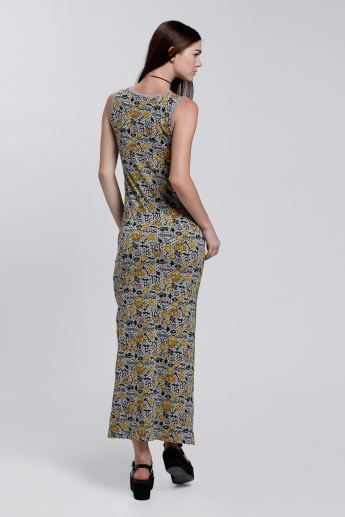 Smiley World Printed Sleeveless Maxi Dress with Side Slit