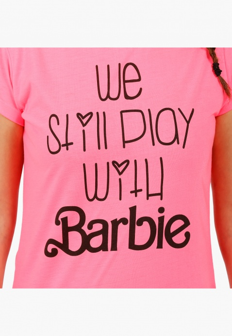 Barbie Boat Neck Printed Long T-shirt with Short Sleeves