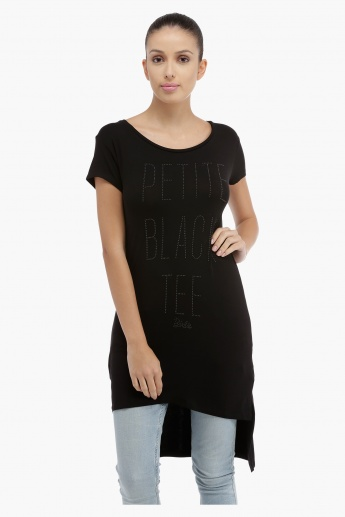Short Sleeves Top with High Low Hem