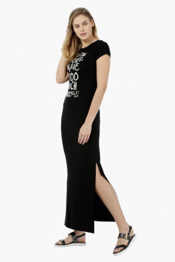Barbie Short-sleeved Graphic Long Dress
