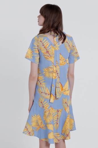 Printed Round Neck Midi Dress with Frilled Hem Tie Up
