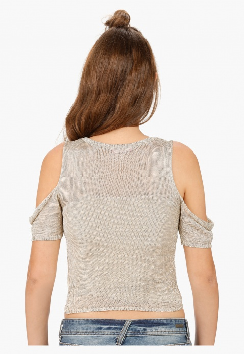 Cut-Out Shoulder Top with Round Neck in Regular Fit