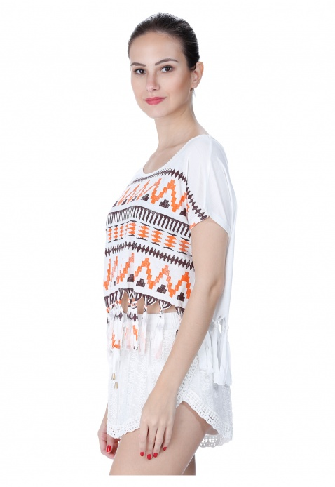 Aztec Print Top with Tassels