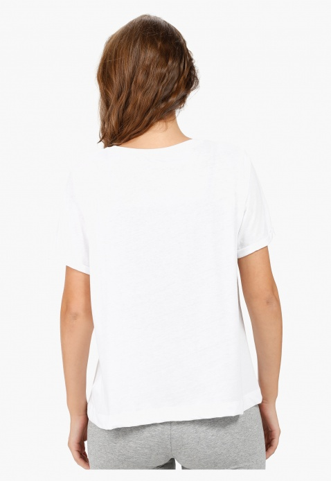 Printed T-shirt with Beaded Embellishment and Round Neck