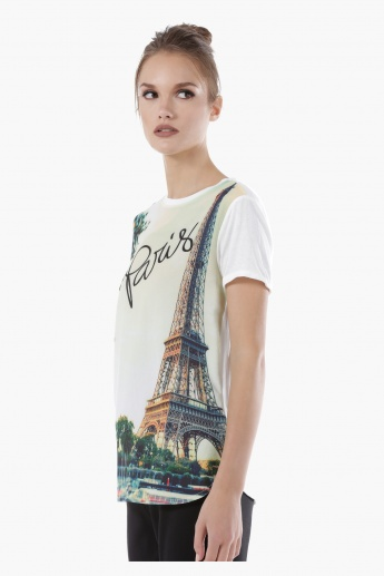 Eiffel Tower Printed Top with Round Neck and Short Sleeves