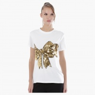 T-Shirt with Bow-Shaped Sequin Embellishments in Regular Fit