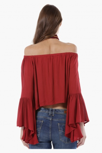 Off-Shoulder Crop Top with Bell Sleeves