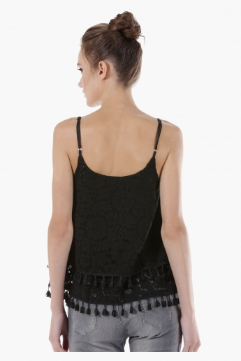 Trapeze Lace Top with Tassels