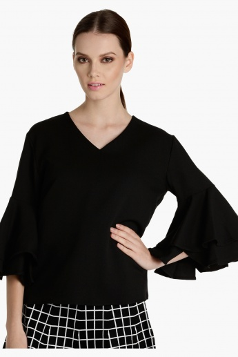 V-Neck Top with Bell Sleeves