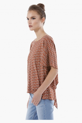 Ditsy Print Box Top with Flutter Sleeves