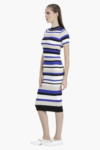 Striped Dress with Ribbed Neck in Regular Fit