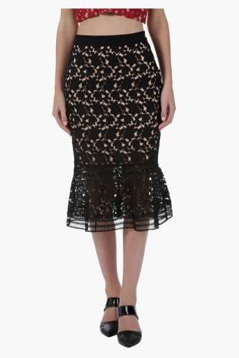 Lace Skirt with Nude Base in Straight Fit