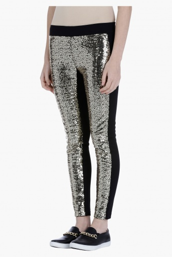 Leggings with Front Sequin Panel