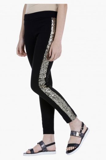 Leggings with Side Sequin Panel