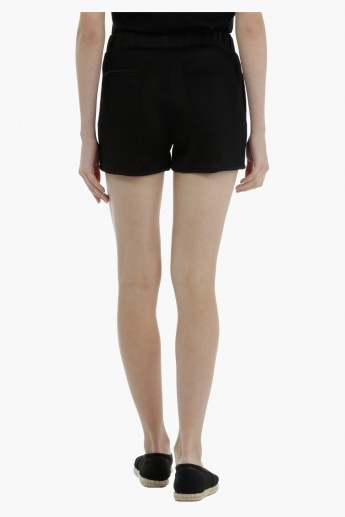 Ribbed Shorts with Elasticised Waistband
