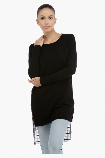 Long Sleeves Tunic with High Low Hem