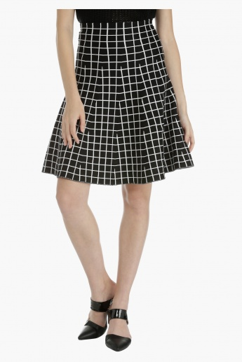 Chequered Midi Skirt