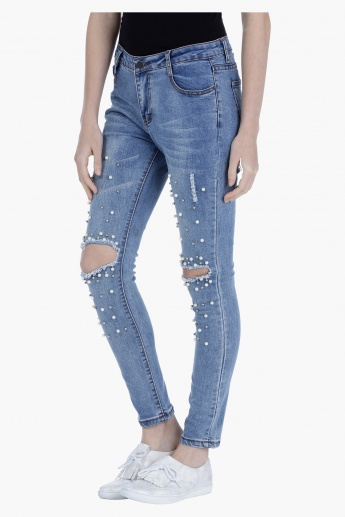 Distressed Jeans with Embellishments