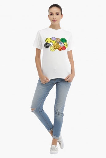 Short Sleeves T-Shirt with Patch Applique