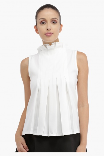 Sleeveless Pleated Top with Back Zip
